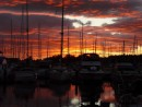 Sunset at Point Roberts Marina prior to departure.