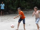 Soccer on the beach in Emerald Cave with Ash and Cameron of s/v Relapse.