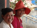 Just inside the border of Cambodia, we saw these lovely smiling faces.