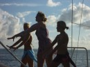 Zoe, Ryssa and Maia, practicing their dance on the front of the Blue Boat.