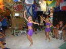 At the first potluck dinner, special guests Zoe and Maia, superb Tahitian dancers from s/v Gromit, performed three beautiful dances.
