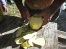 The breadfruit needs to be peeled, seeded, sliced and then boiled.