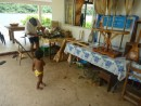 The ukulele makers workshop at the side of his house. 