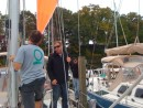 "Collin with Chesapeake Rigging lends an eye and some advise on how the trysail was rigged. The installation required welding an ""O"" atop the gooseneck pin to provide a clever attachment point for the trysail"