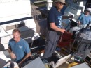 Ted works on rebuilding the propane delivery system while Red and Suzan help get the boat ready for the sail to Hampton.
