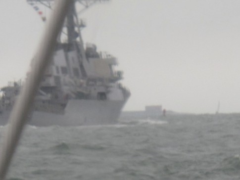 A closer but blurry shot of one of the Navy ships. It
