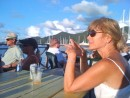 We join the locals at the Simpson Bay Yacht Club to drink some  50 cent beer and watch the yachts parade into the lagoon during the evening bridge opening. Well, I