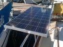 Closer view of the Kyocera 130 watt side solar panel that pivots on the tope side rail.