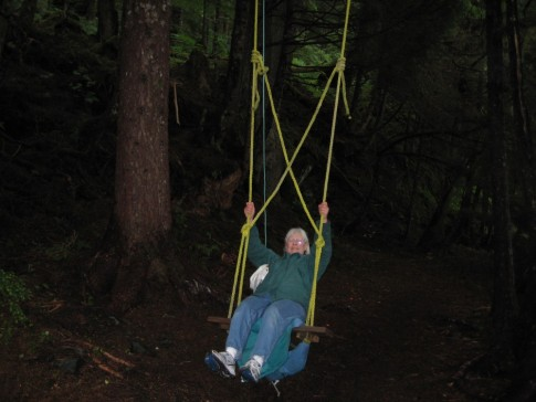 Karen swinging in Taku Harbor