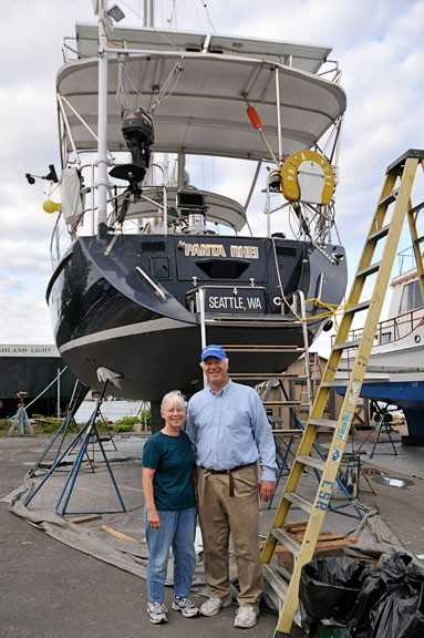 Larry and Karen in the CSR Boatyard