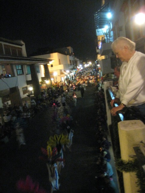 Our restraunt perch overthe street provided an excellent view of the procession