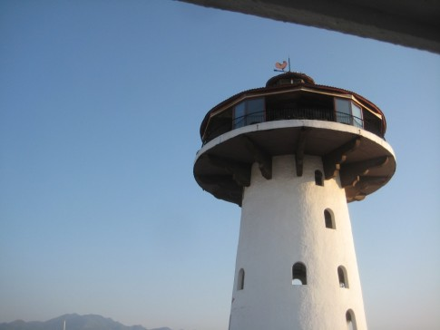 A public bar at the top of a lighthouse at the Puerto Vallarta marina