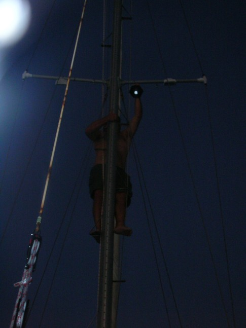 Hal hung a secondary solar anchor light.