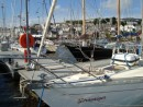 On the pontoon, rafted to Stravaiger, in Falmouth