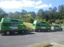 3 Jucy vans when we came back from visiting Cathedral Cove
