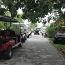 So many golf carts lining the path at the marina/resort