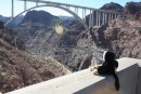 Our little friend Steve looking at the new Bridge by Hoover Dam