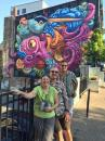 Mireille, Christian and Jim in front of a new mural in Halifax