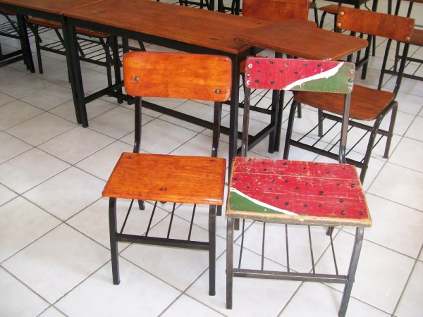 Before and after....most of the chairs had the watermelon paint.