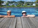 Port Louis Marina... just ask and you can use the pool... just what the doc ordered for a vacation with Kim & Marius.