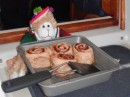C-monkey helped serve the great cinnamon rolls that Karen (on So Inclinded) baked.  they were wonderful.