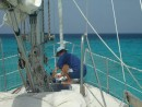 Weighing anchor off Grand Turk