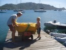 Picking up our newly repaired sails in Bequia