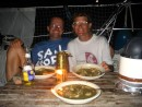 Enjoying callaloo soup from Carriacou in the Tobago Cays