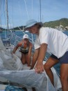 Sail repairs in Tyrell Bay, Carriacou