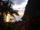 Sunset at the Pitons
