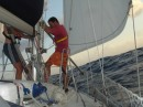 Gybing the spinnaker pole en route to Panama