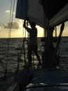 Re-rigging the genoa for a down-wind run after leaving Jamaica