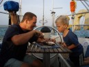 Bizerte fish: Getting dinner ready