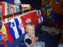 flag cabin 2: Nicky keeps busy re-arranging his own little flag gallery down below
