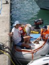 kids harbor cruise: Getting ready for a harbor cruise in our dinghy