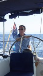 Glenn at the helm