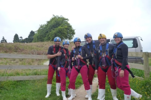 All suited up for the cave experience!
