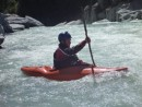 Brett gets ready to take on the 3 meter drop waterfall in his kayak