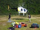 Helicopter takes Allan and Alison up the river first