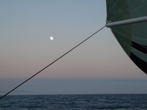 Moonrise with spinnaker- does it get any better?