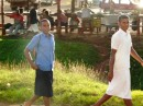 Young school boys in school uniforms (wearing suri- the fijian male dress)