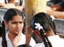 Labasa school girls,all sporting matching braids and white bows- quite a spectacular site!