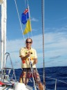 Raising the Cook Island courtesy flag, our 4th country on this trip