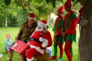 Christmas Santa, Aussie style- love the elves!