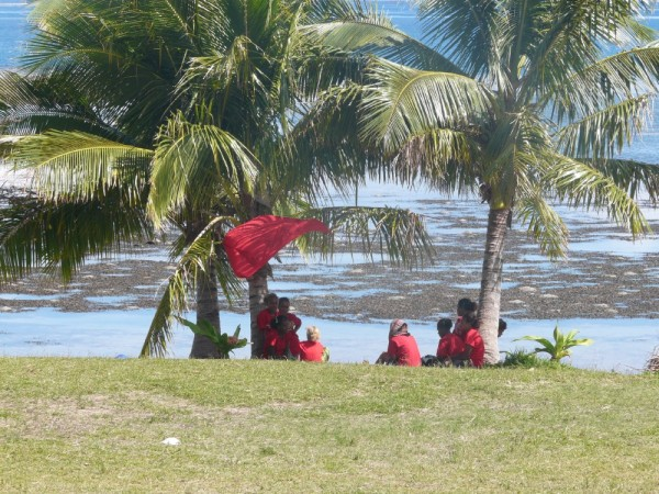 red team rests at the water