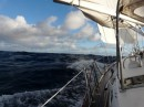 reefed main with genoa- goodbye Bluebird, hello wind and waves!