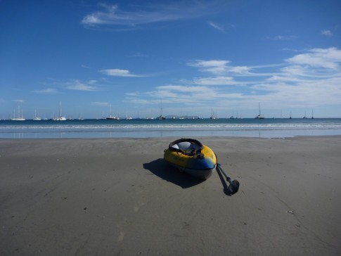 Kayaking in to the bay- fun through the small surf, as long as everything is in a water proof bag