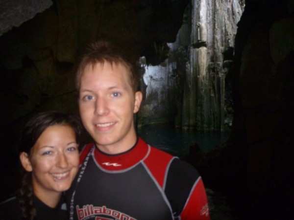 At the cave entrance- beautifully kept with no graffiti like in Tonga- maybe it is the locked doors and admission fee?