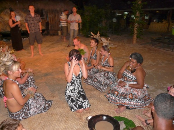 Emily drinks her first bowl of Kava (also lovingly known as Grog by the local Fijians)