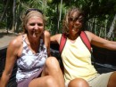 riding in the back of the banana truck- Elizabeth and Gloria!